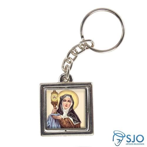 Chaveiro Quadrado Giratório de Santa Clara | SJO Artigos Religiosos