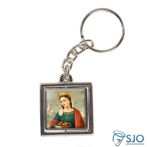 Chaveiro Quadrado Giratório de Santa Isabel da Hungria | SJO Artigos Religiosos