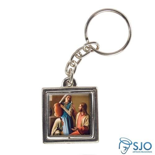 Chaveiro Quadrado Giratório de Santa Marta - Mod 2   SJO Artigos Religiosos