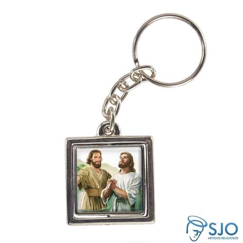 Chaveiro Quadrado Giratório de São João Batista | SJO Artigos Religiosos