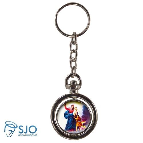 Chaveiro Redondo Giratório - Nossa Senhora da Defesa | SJO Artigos Religiosos
