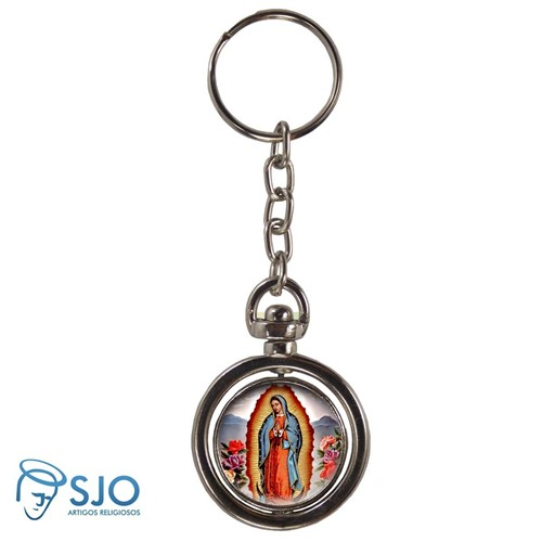 Chaveiro Redondo Giratório - Nossa Senhora de Guadalupe | SJO Artigos Religiosos