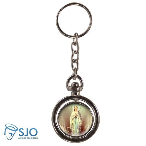 Chaveiro Redondo Giratório - Nossa Senhora de Lourdes | SJO Artigos Religiosos