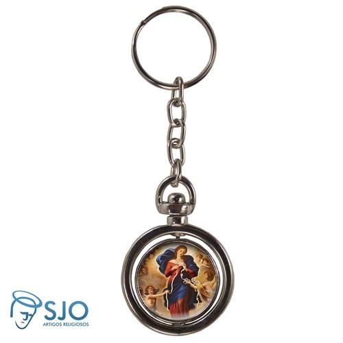 Chaveiro Redondo Giratório - Nossa Senhora Desatadora de Nós   SJO Artigos Religiosos