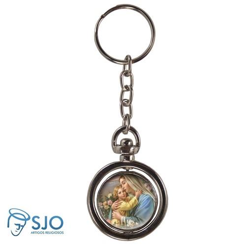Chaveiro Redondo Giratório - Nossa Senhora do Bom Parto | SJO Artigos Religiosos