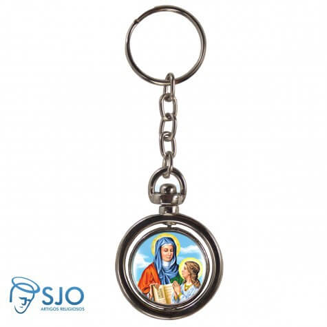Chaveiro Redondo Giratório - Nossa Senhora Santana   SJO Artigos Religiosos