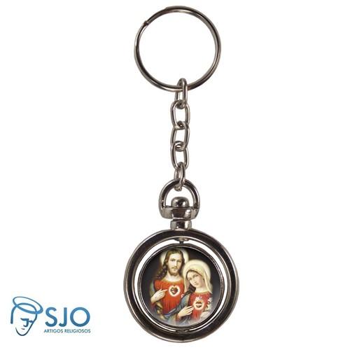 Chaveiro Redondo Giratório - Sagrado Coração de Jesus e Maria | SJO Artigos Religiosos