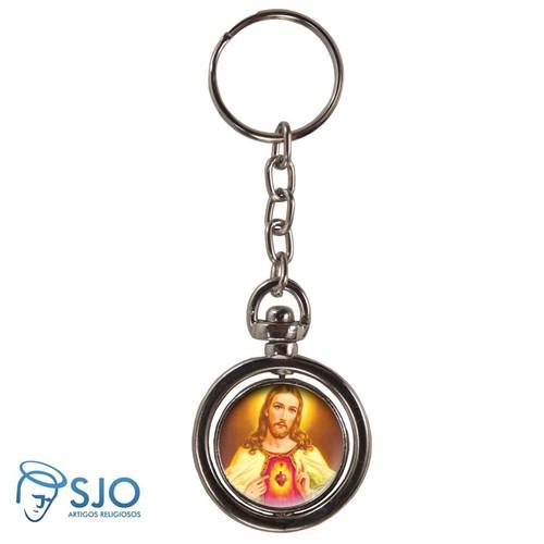 Chaveiro Redondo Giratório - Sagrado Coração de Jesus - Modelo 2 | SJO Artigos Religiosos