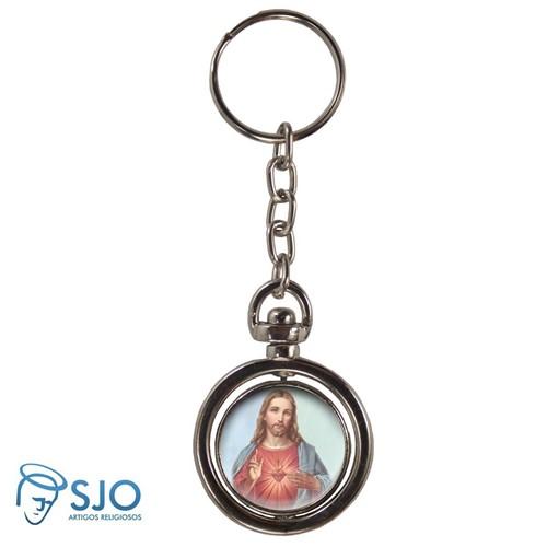 Chaveiro Redondo Giratório - Sagrado Coração de Jesus - Modelo 3 | SJO Artigos Religiosos