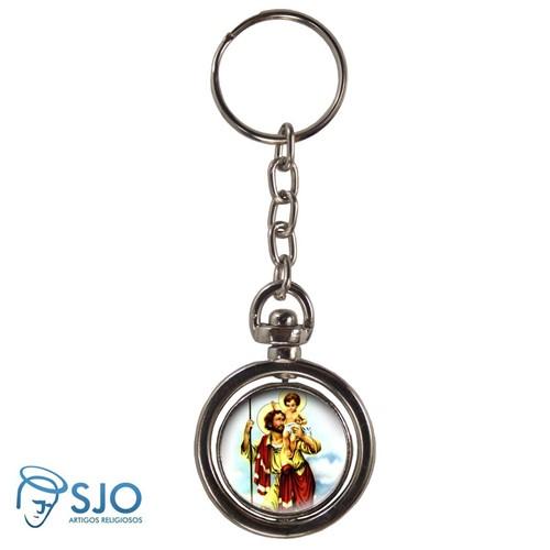 Chaveiro Redondo Giratório - São Cristóvão   SJO Artigos Religiosos