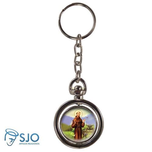 Chaveiro Redondo Giratório - São Francisco de Assis | SJO Artigos Religiosos