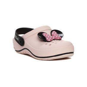 Chinelo Babuche Disney Infantil para Menina - Rosa/preto 29