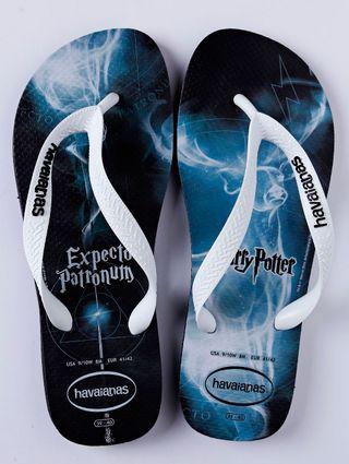 Chinelo Masculino Havaianas Harry Potter Azul/branco