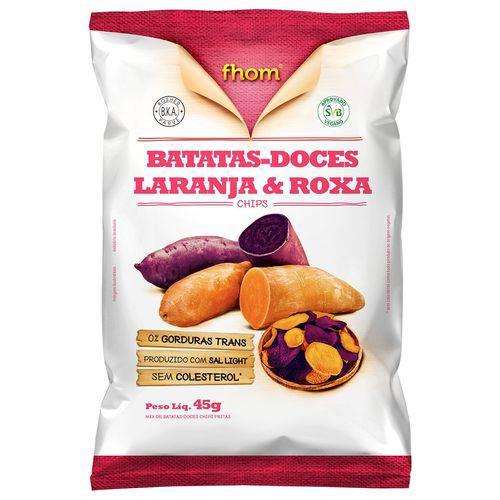 Chips Batatas Doces Laranja e Roxa 45g - Fhom