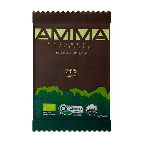 Chocolate Orgânico 75% 30g - Amma Chocolate