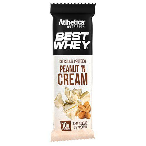 Chocolate Proteico BEST WHEY CHOCOLATE BRANCO - Atlhetica - 12 Uni de 50g - Peanut 'n Cream