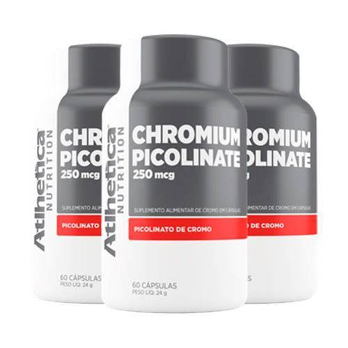 Chromium Picolinate Cromo 250mcg - 3 Un de 60 Cápsulas - Atlhetica