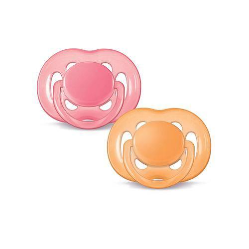 Chupeta Avent Freeflow 6-18 Meses 2 Unidades Rosa/laranja