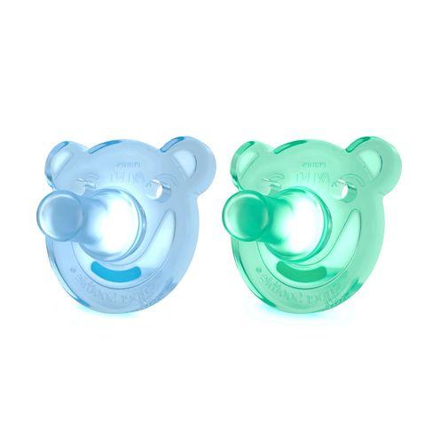 Chupeta de Silicone Ursinho Azul/Verde 2 Peças - BPA Free - 0 a 3 Meses - Philips Avent