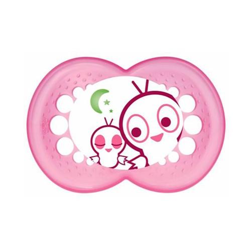Chupeta Mam Night Silicone Silk Touch Ortodôntica +6 Meses Cores e Desenhos Sortidos Girls com 1 Unidade
