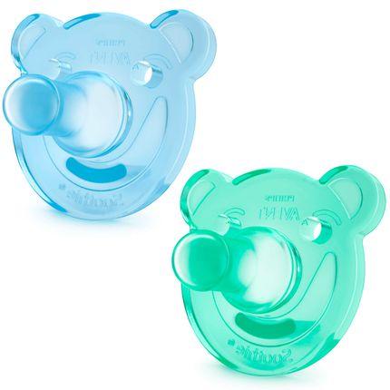 Chupeta Soothie Silicone BPA Free 2pçs (0-3m) Verde e Azul - Philips Avent