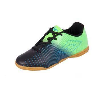 Chuteira Umbro Futsal Indoor Vibe Jr Preto/Verde Fluor/Azul 30