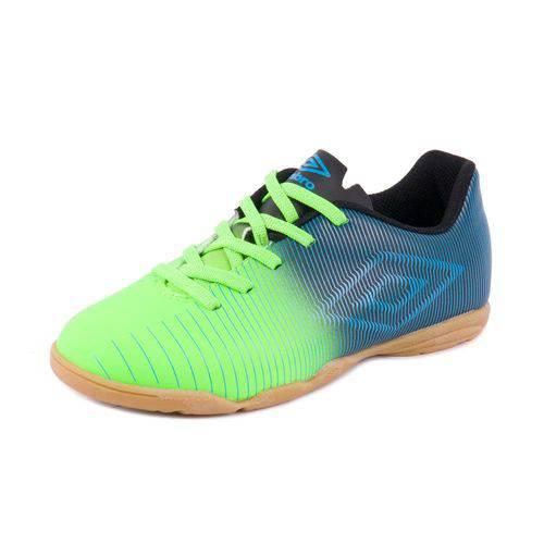 Chuteira Umbro Futsal Indoor Vibe Jr Verde Fluor/Preto/Azul