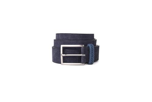 Cinto Básico Camurça Fivela Fumê Escuro - Azul - 95