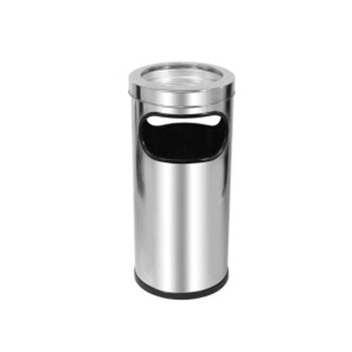 Cinzeiro Lixeira em Aço Inox Prateado