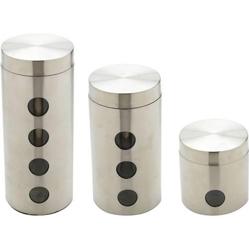 Cj 3 Pc Porta Mantimento de Aço Inox C/fundo de Vidro Bon Gourmet