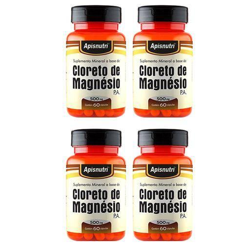 Cloreto de Magnésio P.A. - 4 Un de 60 Cápsulas - Apisnutri