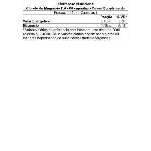 Cloreto de Magnésio P.A - 60 Cápsulas - Power Supplements