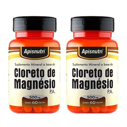 Cloreto de Magnésio P.A. - 2 Un de 60 Cápsulas - Apisnutri