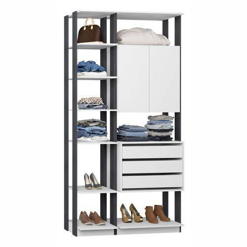 Closet Componível Completo 2 Peças 1,11m 9006 Clothes Be Mobiliário