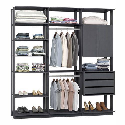 Closet Componível Completo 3 Peças 2,10m 9009 Clothes Be Mobiliário