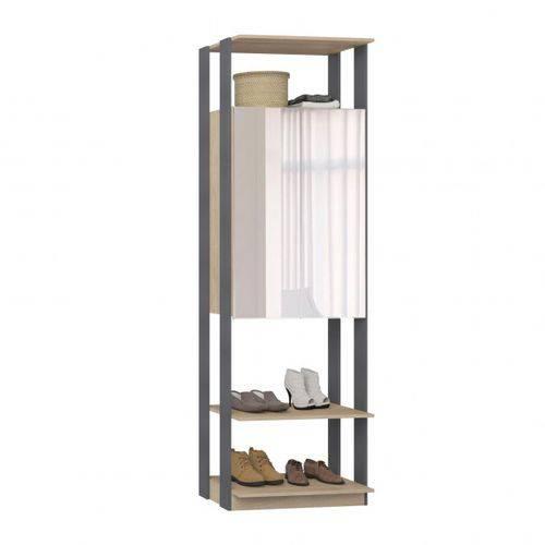 Closet Estante Armário com Espelho-carvalho Mel / Espresso - Be Mobiliário