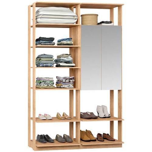Closet Modulado 1 Armário C/ Espelho Clothes 9012 – Be Mobiliário - Carvalho Mel