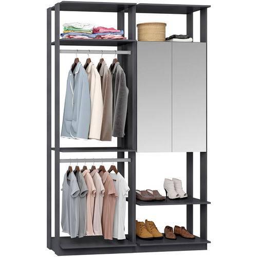 Closet Modulado 1 Armário C/ Espelho e 2 Cabideiros Clothes 9015 – Be Mobiliário - Espresso