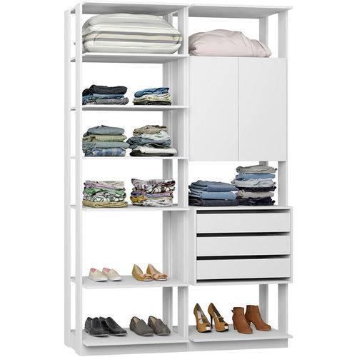 Closet Modulado 1 Armário C/ 3 Gavetas Clothes 9011 – Be Mobiliário - Branco