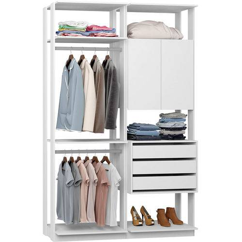 Closet Modulado 1 Armário 3 Gavetas e 2 Cabideiros Clothes 9014 – Be Mobiliário - Branco