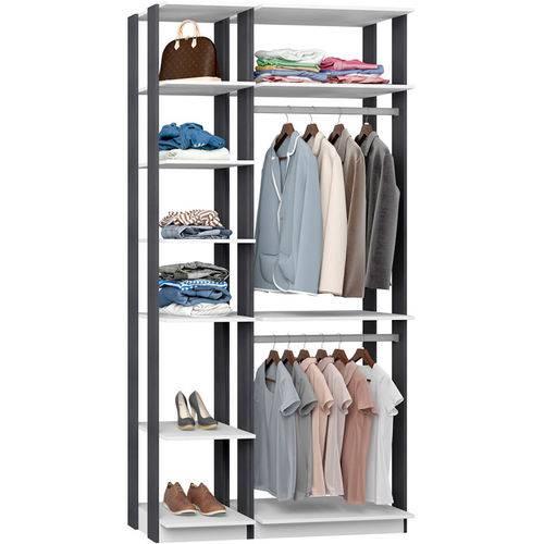 Closet Modulado C/ 2 Cabideiros Clothes 9005 - Be Mobiliário - Branco / Espresso