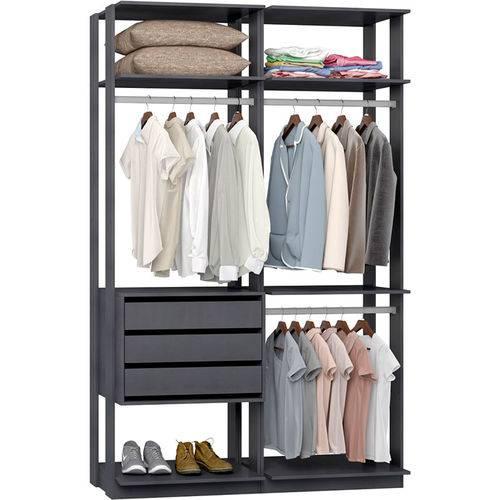 Closet Modulado 3 Gavetas e 3 Cabideiros Clothes 9013 – Be Mobiliário - Espresso
