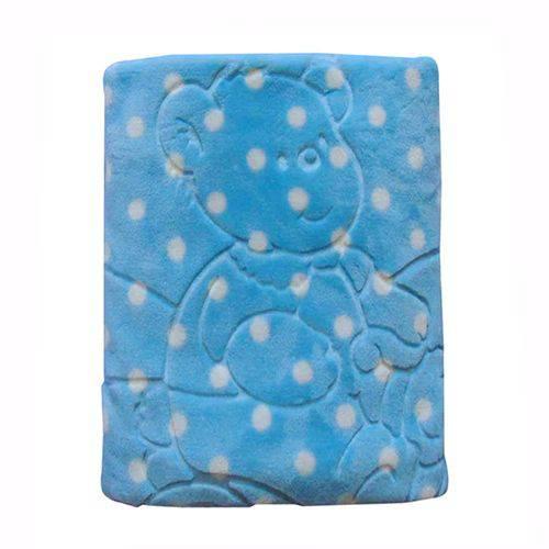 Cobertor Bebê em Relevo com Capuz Jolitex Azul Menino Luxo