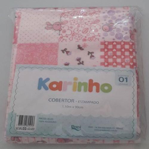 Cobertor Bebê Feminino Estampado Rosa Karinho