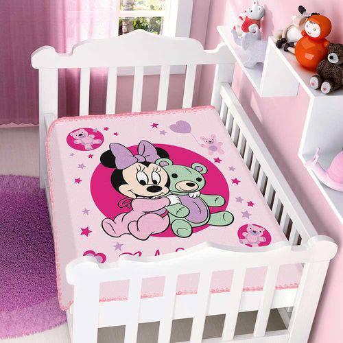 Cobertor Bebê Raschel Minnie Ursinha Rosa - Jolitex
