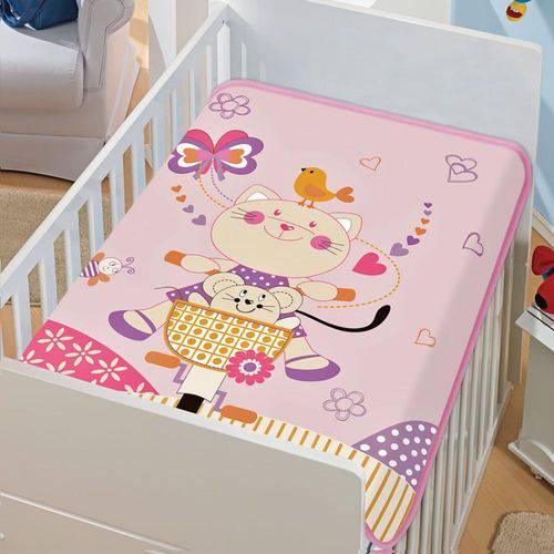 Cobertor Bebê Tradicional Gatinha Pedalando Rosa - Jolitex