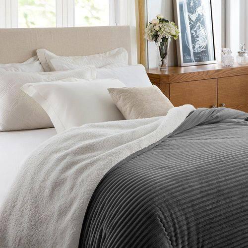 Cobertor Casal Corttex Boreal - Home Design - 100% Poliéster - Chumbo