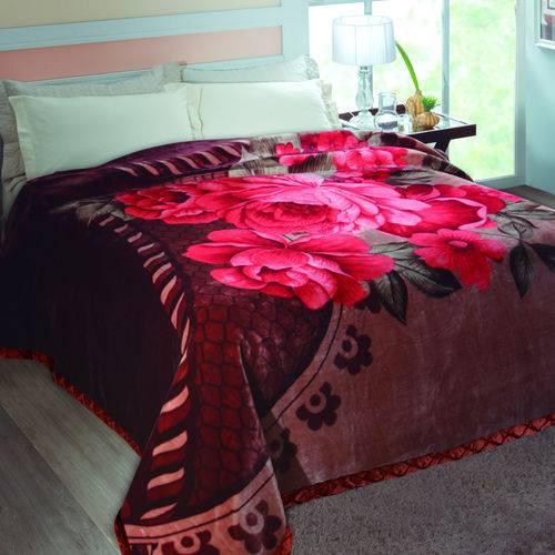 Cobertor Casal Lore Poliéster Microfibra Jolitex 2,20mx2,40m Vinho