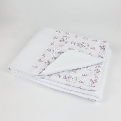 Cobertor Feminino Branco e Rosa Ursinha
