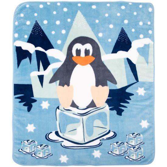 Cobertor Fleece Microfibra 90 Cm X 1,10 M Pinguim Azul